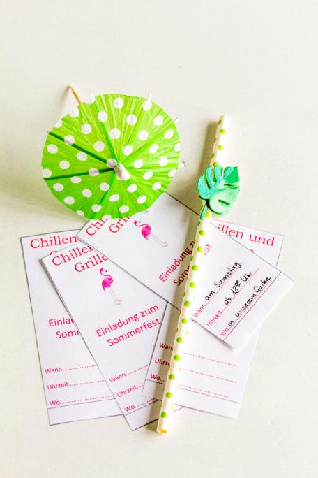 Einladung Sommerfest DIY Freebie Grillen und Chillen Flamigo Pink