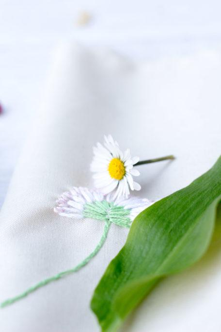 Bärlauch Gänseblümchen Stickvorlage