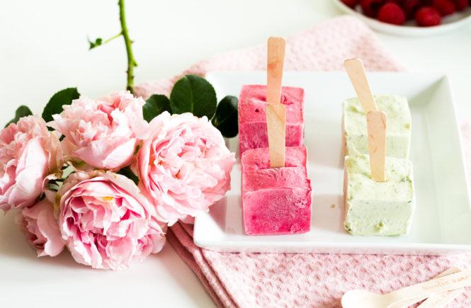 Himbeer-Mascarpone und Basilikum-Joghurt Eis