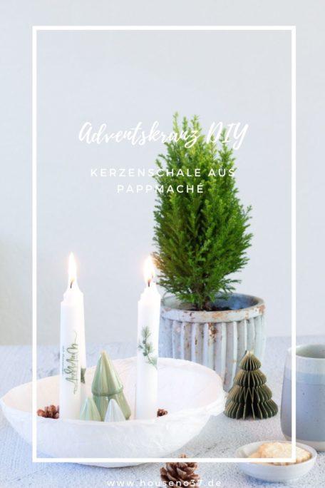 Adventskranz DIY Kerzenschale aus Pappmaché